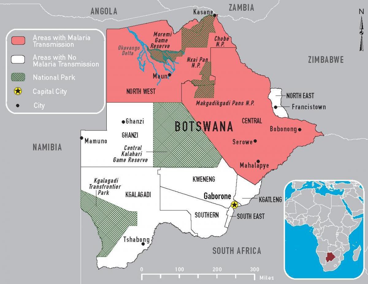 Le Botswana carte du paludisme - Carte du Botswana contre ...